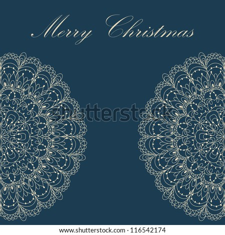 Beautiful blue colorful lace ornament for merry christmas card, background, backdrop, wallpaper, invitation, border, banner, brochure, raster