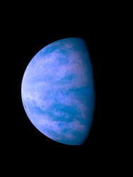 Beautiful blue exoplanet in deep space, alien planet, space background.