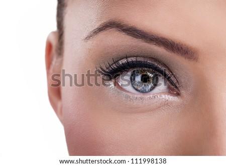 Beautiful  blue eye, close up