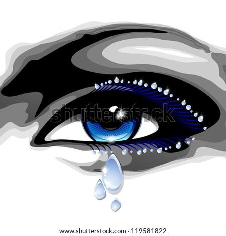 Beautiful Blue Eye with Tears