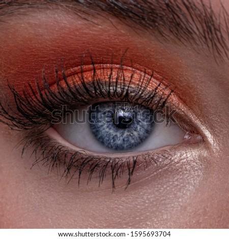 Beautiful Blue Eyes Make Up look Eye lashes eye shadow eye liner