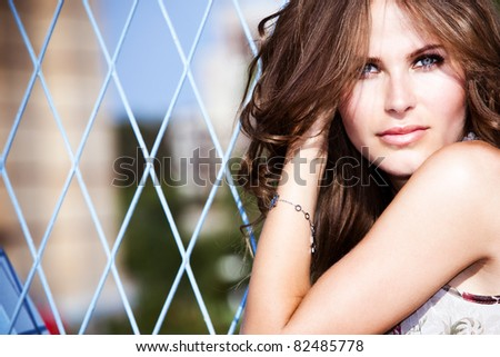 beautiful blue eyes woman outdoor portrait, summer sunny day