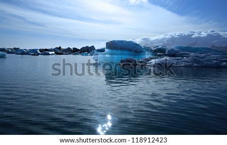 Beautiful blue iceberg on Jokulsarlon lagoon Iceland