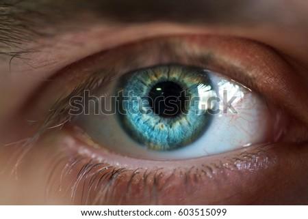 Beautiful blue male eye close-up #603515099