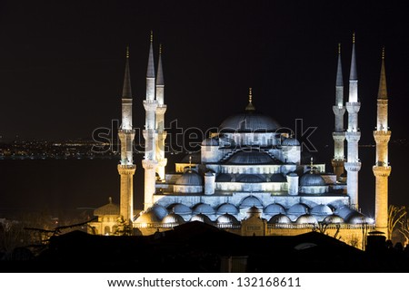 Beautiful Blue Mosque (Sultanahmet) at night, Istanbul