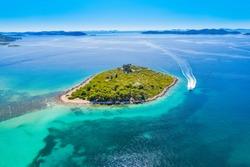 Beautiful blue paradise, small islands archipelago on Adriatic sea in Dalmatia, Croatia, drone aerial view