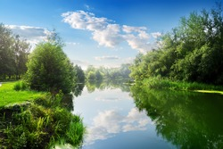 Beautiful blue river in the summer day