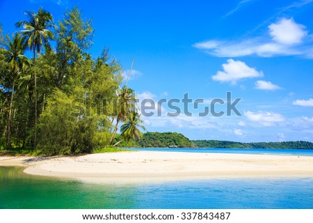 Beautiful blue sea and sky at Koh kood island, Thailand.