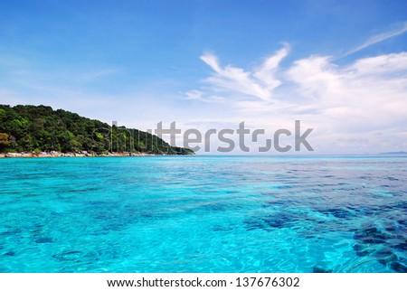 Beautiful blue sea ,blue sky in summer from tachai island in Thailand