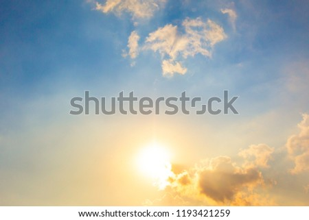 Beautiful blue sky after the rain with a group of clouds.  Conceptual of freedom.  Background image. #1193421259