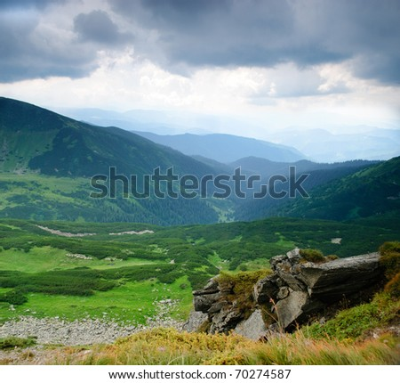Beautiful blue sky and rock high up in Carpathian mountains