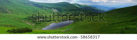 "Beautiful blue sky and rock high up in Carpathian mountains. Lake ""Nesamovyte"" panorama"