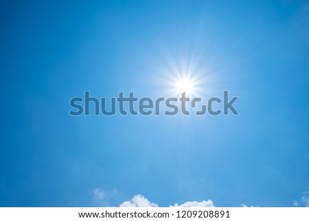 Beautiful blue sky and sun. #1209208891