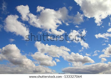 Beautiful blue sky and white clouds. Idyllic background abstract.