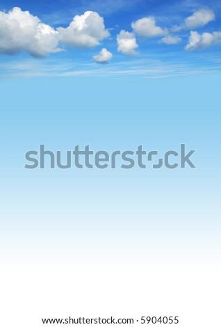 beautiful blue sky background with white fluffy clouds stock photo