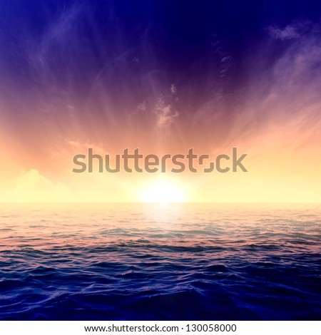 Beautiful blue sky over the sea at sunset