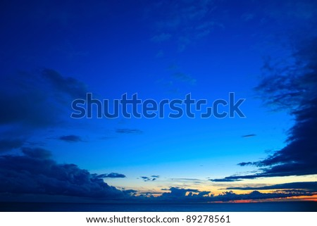 Beautiful blue sky over the sea at sunset #89278561