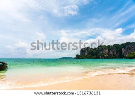 beautiful blue sky tropical coast Asian beach paradise ocean summer Asia sea guiding backpackers planning relaxing resting idea long weekend sunset to sunrise PP Island, Krabi, Phuket, Thailand. #1316736131