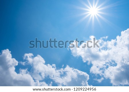 Beautiful blue sky with clouds and sun. #1209224956