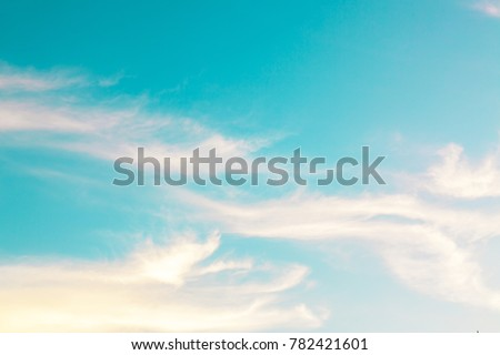 beautiful blue sky with clouds background..Blue sky with clouds and sun #782421601