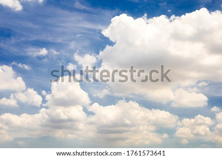 Beautiful blue sky with clouds background.Puffy fluffy white clouds.Cloud background.Sky with clouds weather nature cloud blue.Blue sky and clouds