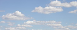Beautiful blue sky with Cumulus clouds panorama on Sunny summer day, stratosphere view background texture