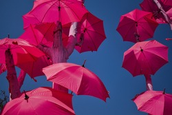 beautiful blue  sky  with lovely pink umbrella background , decorative design , pink blue combination background, pink pattern, man made  event .