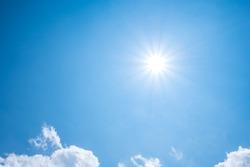 Beautiful blue sky with sunny sun.