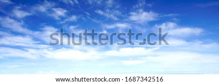 Beautiful blue sky with white cloud, long format  can use banner, background, wallpaper.