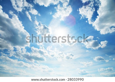 Beautiful blue sky with white clouds. Wide angle view.