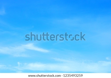 Beautiful blue sky with white fluffy clouds background. Turquoise color blured photography      #1235493259