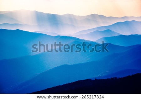 Beautiful Blue Sunrise on the Great Smoky Mountains National Park in Tennessee Stock photo ©