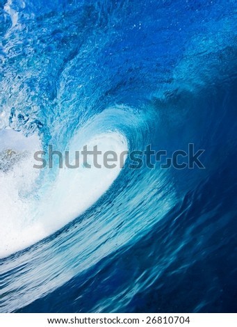 Beautiful Blue Surfing Wave, View in the Tube - stock photo