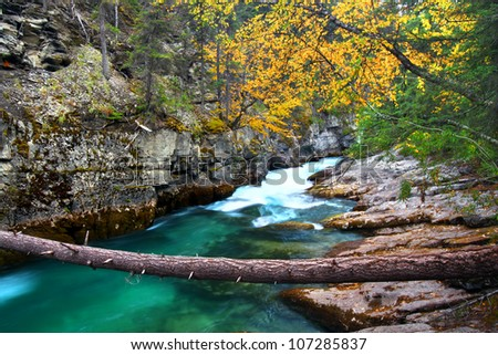Beautiful blue waters flow through Maligne Canyon of Jasper National Park in Canada