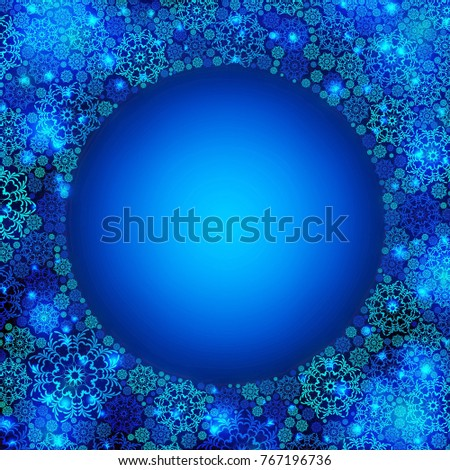 Beautiful blue winter round frame with snowflakes. Raster illustration