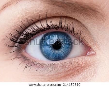 Beautiful blue woman single eye close up
