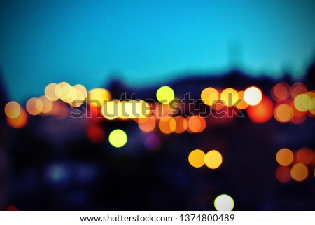 Beautiful blurry bokeh abstract background in shape of mosque view, dark night with color defocus of effect colorful light for Ramadan holy month Eid Mubarak celebrate festival in vintage tone   #1374800489