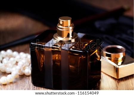 beautiful bottle of perfume - stock photo
