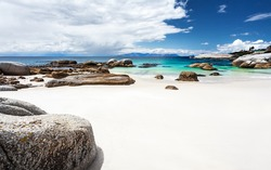 Beautiful Boulders beach landscape, panoramic view, amazing travel location, Simon's Town, Western Cape, South Africa