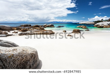 Beautiful Boulders beach landscape, panoramic view, amazing travel location, Simon's Town, Western Cape, South Africa\n