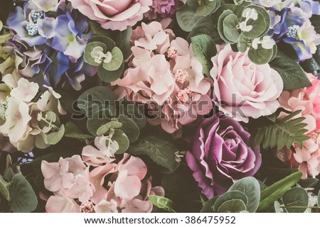 Beautiful bouquet flower for background - Vintage Filter #386475952