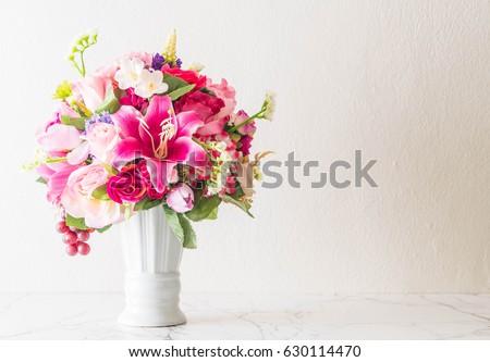 beautiful bouquet flower in vase #630114470