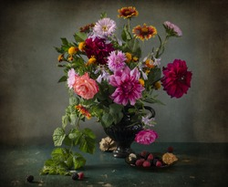 beautiful bouquet of autumn flowers in the Dutch style.