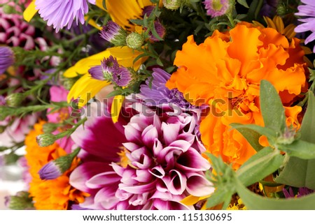 beautiful bouquet of bright flowers close-up