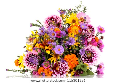 beautiful bouquet of bright flowers isolated on white #115301356