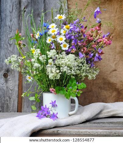 beautiful bouquet of bright wildflowers stock photo