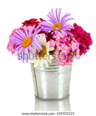 beautiful bouquet of bright wildflowers in bucket, isolated on white
