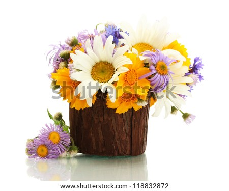 beautiful bouquet of bright  wildflowers in wooden flowerpot, isolated on white - stock photo