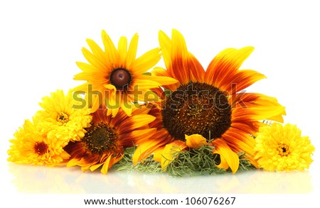 beautiful bouquet of bright wildflowers, isolated on white - stock photo