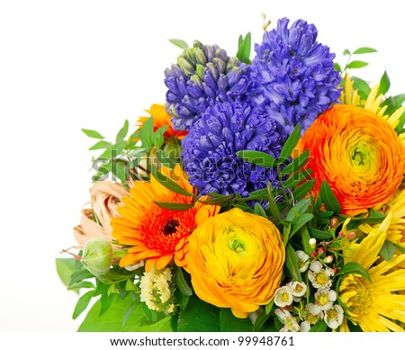 beautiful bouquet of colorful spring flowers. ranunculus, hyacinth, gerber
